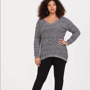 Torrid Marled Slouchy Tunic Sweater V-Neck 3X